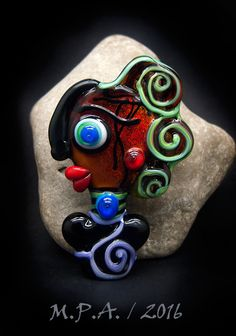 Lady Achieng, born when the sun shines, beautiful Faces/ Freak heads, Modern Glass Art, Unique, Statement focal Bead - by Michou P. Anderson by michoudesign on Etsy