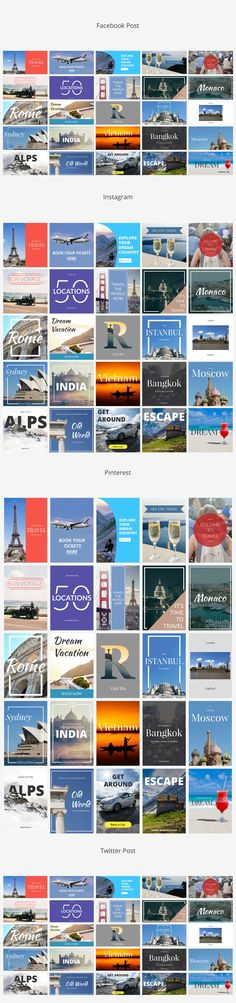 Travel Social Media Banners on @creativemarket  #banner #travel #socialmedia #blog #website #places #world