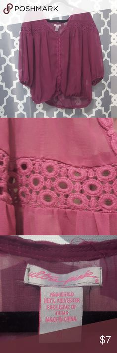 Purple chiffon blouse with crochet detail Beautiful sheer purple chiffon blouse with purple crochet detail. Sleeves are 3/4 length, v-neck. Bottom of sleeves and blouse are elastic. I love this shirt, just looking to add something new to my closet. Ultra Pink Tops Blouses