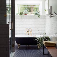 Tiles, Tiles Tiles. Subway tiles on wall, black bathtub - beautiful details #textures #patterns