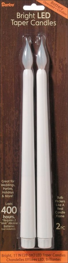 Amazon.com - Darice LED Taper Candle, 11-Inch, White, 2-Pack - Darice Candle Battery