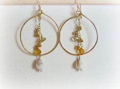Lemon Gold Filled Hoops with lemon quartz by JewelHappyGateHawaii
