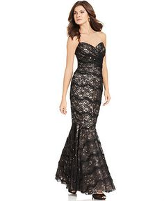 Strapless Sweetheart Mermaid-Hem Gown by JS Collections