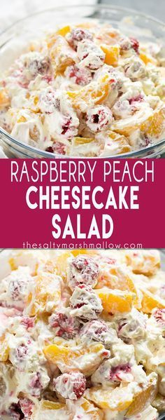 Raspberry Peach Cheesecake Salad: This is a super easy no bake fruit salad recipe that's full of berry and peach flavor! The fruits along wit bh the creamy cool whip and cream cheese make this perfect for a summer bbq!