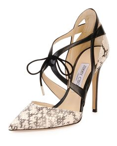 Jimmy Choo Lapris Snakeskin Ankle-Wrap Pump, Natural/Black