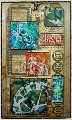 """august technique challenge"" - tim holtz(c) 2008    supplies: craft sheet, adirondack alcohol inks, blending solution, ink applicator tool, jet black archival ink pad, glossy accents, glossy paper (ranger); fragments (tim holtz idea-ology); ghost (heidi swapp); non-stick scissors (tonic); stamps (stampers anonymous); soft cloth"