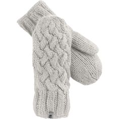 The North Face Fleece Lined Cable Knit Mitten in Vaporous Grey