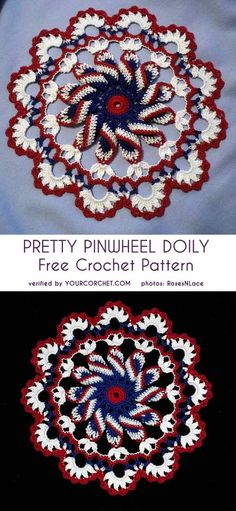 Crochet Square Patterns Pretty Pinwheel Doily Free Crochet Pattern - As I was looking for a Christmas doily pattern, I found this Pretty Pinwheel Doily. It looks so gorgeous, especially in the Red White Crochet Dollies, Crochet Potholders, Crochet Gifts, Cute Crochet, Crochet Coaster, Easy Crochet, Crochet Lace, Knitting Patterns, Crochet Patterns