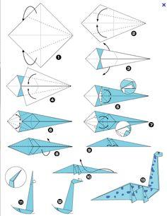Origami de dinosaure - New Ideas Origami Rose, Dragon Origami, Dinosaur Origami, Instruções Origami, Origami Modular, Origami And Kirigami, Origami Bird, Paper Crafts Origami, Useful Origami