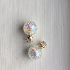 Candy Color White Double Side Ball Stud Earring Candy Color White Double Side Ball Stud Earring New Jewelry Earrings
