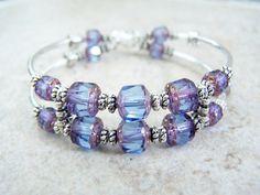 Purple Glass Cuff, Memory Wire Bracelet, Cuff Bracelet, by Feralspassage on Etsy, $21.34 CAD