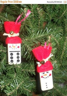 Spring Sale Domino Snowmen Ornaments  Red Hats  Christmas