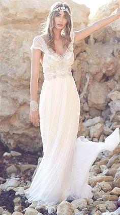 04e2a035ef Fenghuavip Elegant V-neck White Chiffon Wedding Dress for Bride (14) at  Amazon