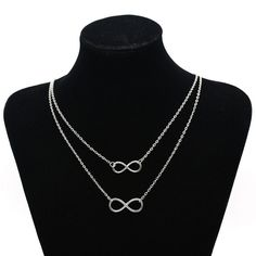 Gold Silver plated Double Infinity 8 Shape Pendant Necklace Double Layers Chain