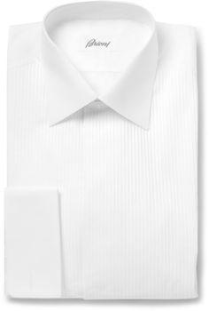 Brioni White Bib-Front Cotton Tuxedo Shirt sur shopstyle.fr