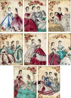Vintage-inspired-victorian-women-note-Cards-tags-ATC-altered-art-set-of-8