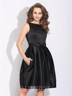 A-Line Bateau Bowknot Sleeveless Short Satin Dress