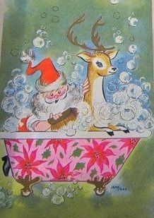 Santa giving his reindeer a bath in clawfoot bathtub / vintage mid-century modern Christmas card illustration.
