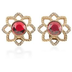 Carolee Gold Gold-Tone Big Apple Stud Earrings (2.525 RUB) ❤ liked on Polyvore featuring jewelry, earrings, gold, flower jewelry, yellow gold jewelry, flower jewellery, flower stud earrings and gold jewellery