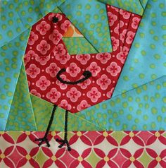 foundation paper pieced bird- another for the funky bird quilt