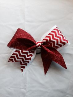 Cheer Bow red and White Chevron Softball Bow by Traceysbagsandbows, $15.00