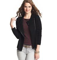 """Textured Asymmetrical Zip Sweater Jacket - Styled with an moto-inspired asymmetrical zip and an overlapping neckline, we love the marvelously cozy charm of this textured go-to. Long sleeves. Ribbed neckline, cuffs and hem. 22 1/2"""" long."""