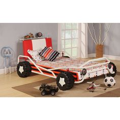 Acme Furniture Carson Racing Car Twin Bed in White and Red Twin Car Bed, Toddler Car Bed, White Headboard, White Bedding, Trundle Bed With Storage, Twin Platform Bed, Kids Bedding Sets, Toddler Furniture, Design Your Home