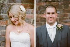 The newly weds pose by an old brick wall in the grounds of the essex wedding venue