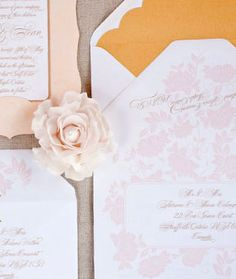 Light and airy wedding invitation suite with blush and gold details. #wedding #paper goods #invites