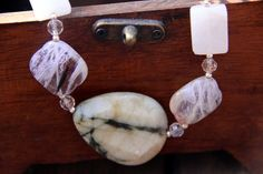 SALE   Natural Stone Necklace w/ Rose & Crystal by SistersArtisans, $40.50
