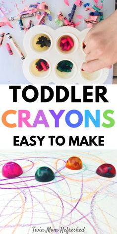 Easy to make DIY toddler crayons. This DIY toddler art and craft idea is fun and easy to make! My twin toddlers love coloring with their homemade crayons! Toddler Arts And Crafts, Preschool Arts And Crafts, Easy Arts And Crafts, Fun Activities For Kids, Indoor Activities, Kid Crafts, Preschool Ideas, Homemade Crayons, Diy Crayons
