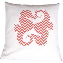 Red Chevron Seahorses Pillow Cover