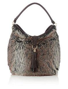 Faux Leather Hobo Shoulder Bag