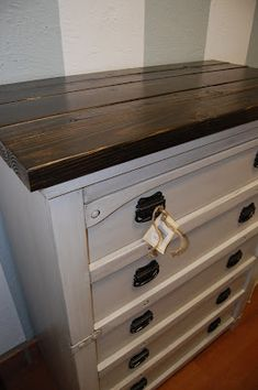 Little Yellow Barn: How to Add a Rustic Top to a Dresser (That's crazy- I have a table I was planning to do this to!)