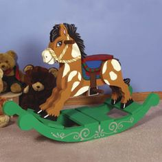 "Classic Rocking Horse Pattern  Our sturdy Classic Rocking horse, keepsake rocking horse is popular at craft shows; cherished by grandchildren. Parts required: Dowels (1) W-190 & (1) W-120; Screws (2) S-240 & (1) S-250. 31""H x 14""W x 44""L.  Pattern #1167  $13.95     ( crafting, crafts, woodcraft, pattern, woodworking ) Pattern by Sherwood Creations- I really want to do this"