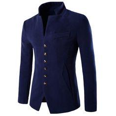46.35$  Watch here - http://dimnz.justgood.pw/go.php?t=198505011 - Stand Collar Multi Button Wool Blend Blazer 46.35$