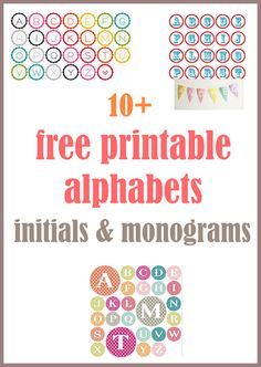MeinLilaPark – digital freebies: ☞ Round up of free alphabet printables – letters, monograms, initials – ausdruckbare Alphabete Free Alphabet Printables, Printable Letters, Printable Paper, Imprimibles Baby Shower, Freebies, Monogram Initials, Monogram Stickers, Lettering, Monogram