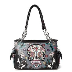 Cowgirl Trendy Western Cross Sugar Skull Art Concealed Carry Handbag Grey >>> Want additional info? Click on the image.