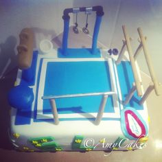 Gymnastics !!!!! What an awesome cake for my boy!!!! Yeah he's a chalk eater !!!!