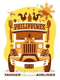 Fly Philippines by Eric Tan. Jump aboard a jeepney to get to your next destination in the Philippines. Every vehicle is unique and is its own art piece. Siargao, Palawan, Filipino Art, Filipino Culture, Filipino Memes, Vigan, Philippines Culture, Philippines Travel, Philippine Holidays
