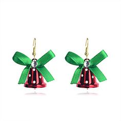 European Style Sweet Bowknot #Christmas Bell Gold Plating Earrings