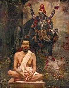 Kali and Ramakrishna Shiva Art, Shiva Shakti, Hindu Art, Maa Kali Images, Durga Images, Kali Goddess, Indian Goddess, Saints Of India, Indian Saints