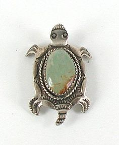 Authentic Native American Turtle pin of sterling silver and turquoise by Albert Cleveland Navajo
