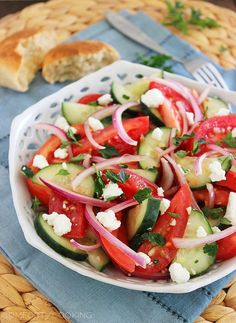 Easy Tomato, Cucumber and Red Onion Salad http://www.thecomfortofcooking.com/2014/03/easy-tomato-cucumber-and-red-onion-salad.html