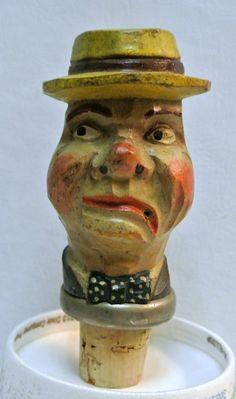 Vintage Hand Carved Anri Wood Bottle Stopper Rustic Cork Folk Figural Art by WallflowerAntiques on Etsy