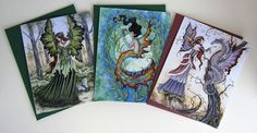 Fairy Mermaid folded card set by Amy Brown by AmyBrownArt on Etsy