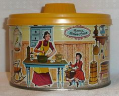 Vintage Mrs. Leland's Golden Butter Bits Tin Box Container Canister 1958 Tradema