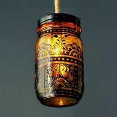 Hand-Painted Mason Jar Lantern (by LITdecor on Etsy)