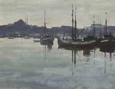 Edward Seago - Fishing Boats At Anchor, Dusk, Istanbul.