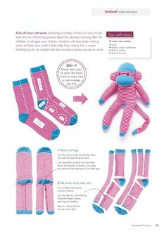 sock toys no sew ; sock toys how to make ; sock toys for dogs ; sock toys diy no sew Sock Monkey Pattern, Sock Monkey Baby, Felt Doll Patterns, Sewing Patterns, Crochet Sock Monkeys, Crochet Socks, Sock Crafts, Sock Monkey Crafts, Sock Toys